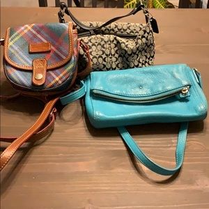 3 purses:  Kate Spade, Coach, Dooney and Bourke
